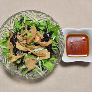 ひじきと蒸しきのこと水菜のサラダ
