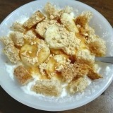 朝食に♪バナナ&きな粉ヨーグルト(ラスク入り)