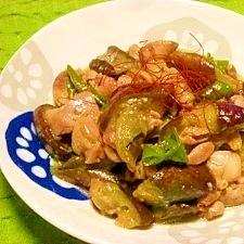 茄子と鶏肉のコッテリ炒め