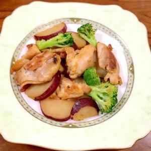めんつゆ味付け☆さつまいも鶏肉ブロッコリーの炒め物