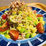 ツナとアボカド&枝豆の和風ペペロンチーノ