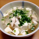 ささみと豆腐の春雨スープ