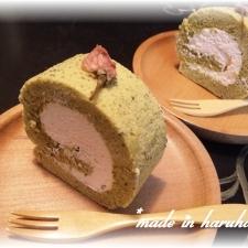 お花見気分です・・・桜ロールケーキ☆
