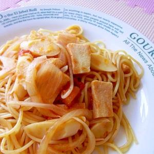 フライパンで簡単♪チーズかまぼこのトマトパスタ♪