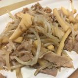 豚バラとタケノコ、もやしのニンニク炒め