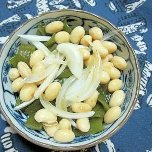 茎わかめと大豆と玉ねぎのサラダ