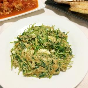 豆苗のオリーブオイル粗挽き塩コショウ炒めの卵よせ♡