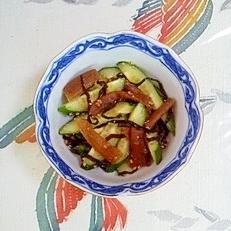 残り物のかんぴょうと胡瓜の塩昆布和え
