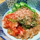 納豆・オクラ・めかぶで、ねばねばサラダ