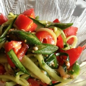 トマトとオクラときゅうりの彩り夏サラダ