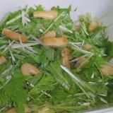 保存容器に直接!水菜と薄揚げのポン酢和え