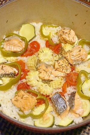 【宮城食材】鮭と夏野菜のパエリア