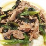豚肉とサニーレタスのわさび醤油炒め