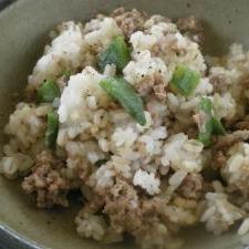 インゲンと挽肉の炒飯