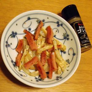 大根とウィンナーの粗挽き胡椒炒め