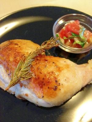 鶏もも肉のロースト☆フレッシュトマトソース添え
