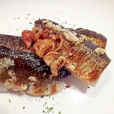 秋刀魚の塩糀漬ガーリック焼き