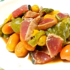 バルサミコ醤油で夏野菜とカツオのお浸し