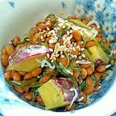 納豆の食べ方-さつまいも&しらす昆布♪
