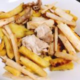 長芋と豚肉のカレー炒め