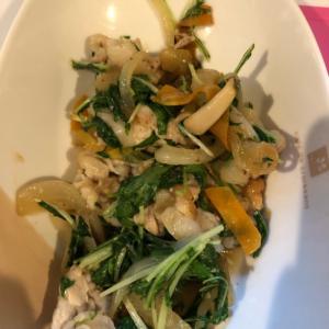 シャキシャキ水菜と豚肉の塩ダレ炒め