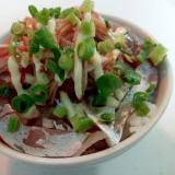鯵の刺身とシーサラダと葱のご飯