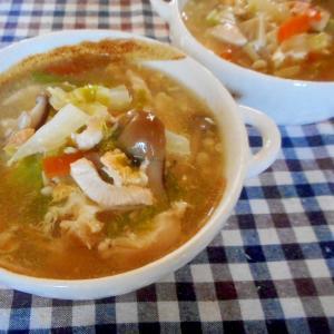 胸肉と白菜、きのこの卵スープ