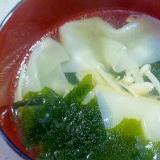 簡単♪餃子の皮とえのきとワカメの中華スープ
