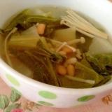 小松菜とえのきともち麦大豆のスープ♡