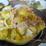 豚肉と白ナスと白菜の炒め煮