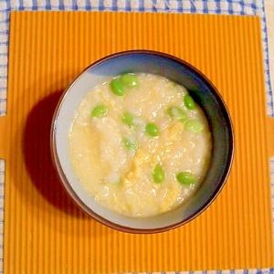 枝豆と卵の雑炊♪
