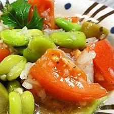 そら豆とトマトのオリーブサラダ