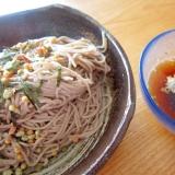 お茶漬けの素と葱蕎麦
