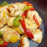 簡単!鶏むね肉と冷凍パプリカのシンプルサッと炒め♪