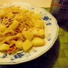タコとジャガイモのガーリックスパゲッティ♪