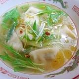 ねぎ、春雨たっぷり~餃子スープ
