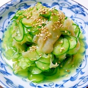 すし酢で簡単、クラゲと胡瓜の酢のもの