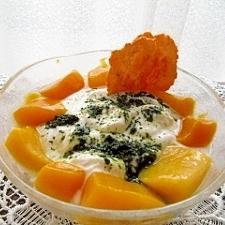 青汁ヨーグルトとマンゴーのデザート
