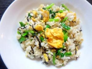ひじきの佃煮で卵炒飯