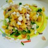 離乳食☆きゅうりとツナとコーンとチーズのサラダ