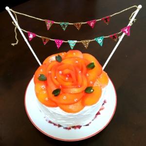 桃で薔薇♪バースデーケーキ