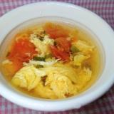 鶏のささみの茹で汁で★トマトの中華スープ