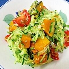 塩ドレッシングで☆夏野菜と茗荷のサラダ♪