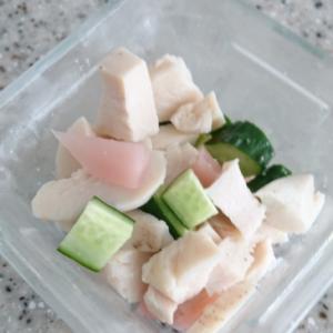 きゅうりと新生姜、サラダチキンの和物