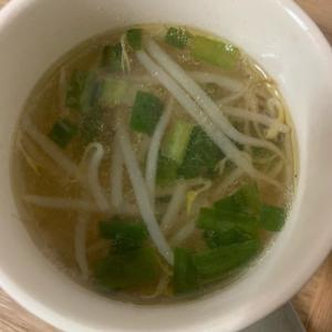 シンプル✨もやしと刻みネギの中華スープ