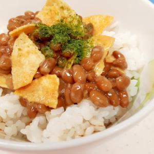 発酵パワー!納豆とポテトチップスのアオサ海苔丼♪