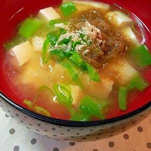 ✿とろろ昆布と豆腐と油揚げとネギのお味噌汁❤