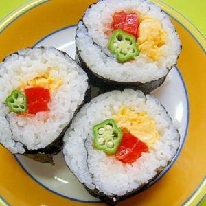 オクラとパプリカ梅たまごの巻き寿司