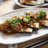 レンジで簡単!蒸し茄子の韓国風豚味噌のせ