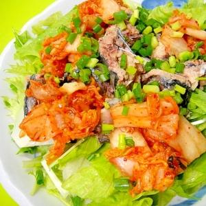 サバ缶キムチのサラダ